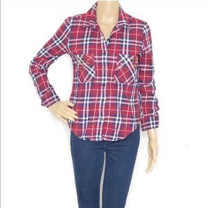 Nollie Embellished Red and Blue Plaid Flannel Top